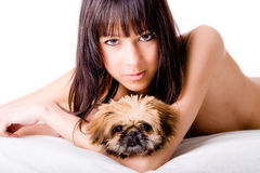 Cute girl and dog royalty free stock photos