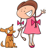 Cute girl with dog cartoon illustration. Cartoon Illustration of Cute Little Girl with Dog
