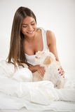 Cute girl and dog in the morning Royalty Free Stock Photo