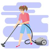 Girl with vacuum cleaner on the background of abstract blue shapes royalty free illustration