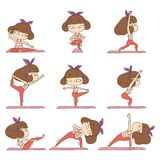 Cute girl doing yoga royalty free illustration