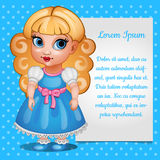 Cute girl doll blonde with the card for your text Stock Photo