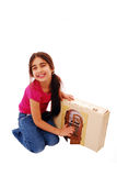 Cute girl with dolls house Royalty Free Stock Photos