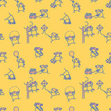 Cute girl doodle seamless pattern Royalty Free Stock Image