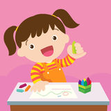 Cute girl drawing Royalty Free Stock Images