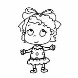 Cute girl and drawing illustration white background royalty free illustration
