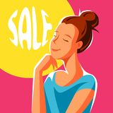 Cute girl dreaming about sales. Illustration of young woman character Royalty Free Illustration