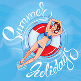 Cute girl dressing bikini floating on a lifebuoy in a swimming p. Ool. Handwritten calligraphic text Summer Holidays stock illustration