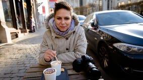 Cute girl drinking coffee Royalty Free Stock Photo