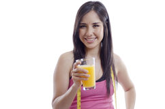 Cute girl drinking orange juice Stock Photo