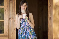 Cute girl drinking tea Royalty Free Stock Image