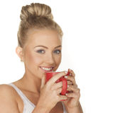 Cute girl drinking tea Stock Image
