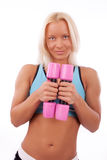 Cute girl with dumbbells Stock Photography