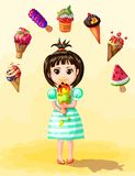 Cute Girl Eating Ice Cream Template. With different types of fruit icecreams in cartoon style vector illustration Stock Photos