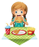 A cute girl eating royalty free illustration