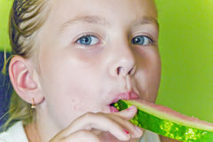 Cute girl eating watermelon Royalty Free Stock Photography