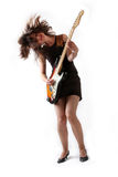 Cute girl with electric guitar Royalty Free Stock Images