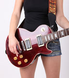 Cute girl with electric guitar Stock Images