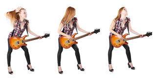 Cute girl with electric guitar isolated Stock Photo