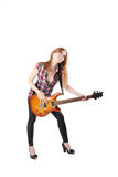 Cute girl with electric guitar isolated Stock Photos