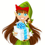 Cute girl Elf give christmas gift Royalty Free Stock Photography