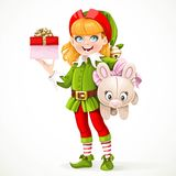 Cute girl elf Santa Royalty Free Stock Photos