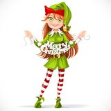 Cute girl elf with the words Christmas garland Royalty Free Stock Photo