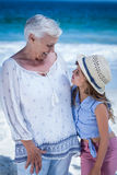 Cute girl embracing her grandmother Stock Photography