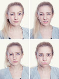 Cute girl emotion square set Stock Photo
