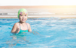 Cute girl enjoy to swimming Royalty Free Stock Images