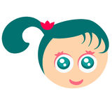 Cute Girl Face. Cute face of a girl with pony tail and bow Royalty Free Stock Image