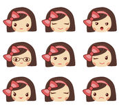 Cute girl face with red bow showing the different emotions vector illustration. Vector set of emoji and emoticons. Royalty Free Stock Image