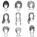 Cute girl faces collection. Woman avatars set. Cute girl faces collection. Women avatars set. Handsome characters flat design. Hand drawn sketch design stock illustration