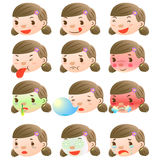 Cute girl facial expressions. There are cute girl facial expressions Royalty Free Stock Photo