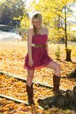 Cute girl in fall leaves Royalty Free Stock Photos