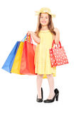 Cute girl in fancy dress holding shopping bags. Full length portrait of cute girl in fancy dress holding shopping bags isolated on white background Stock Images