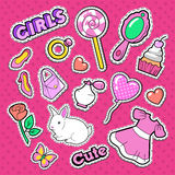 Cute Girl Fashion Stickers, Patches and Badges. Girlish Doodle with Hearts, Sweets and Cosmetics Stock Image