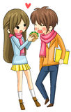 Cute girl is feeding hamburger to her boyfriend Royalty Free Stock Photography