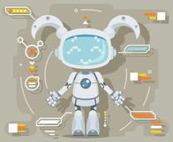 Cute girl female Robot android artificial intelligence futuristic information interface flat design vector illustration. Cute girl female Robot android Royalty Free Stock Photos