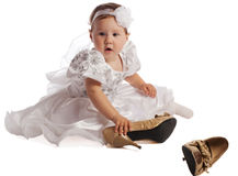Cute girl  with female  shoes Stock Photography
