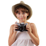 Cute girl with a film camera Stock Image