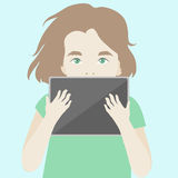 Cute girl finding inspiration with digital tablet Stock Photo