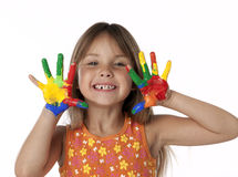 Cute Girl With Finger Paint Hands Royalty Free Stock Photos