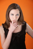 Cute Girl with Fingers on Chin Royalty Free Stock Photo