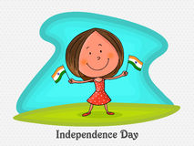 Cute girl with flag for Indian Independence Day. Stock Photography