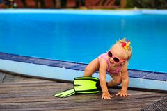 Cute girl with flippers in swimming pool at beach. Cute girl with flippers in swimming pool at tropical beach Royalty Free Stock Photo