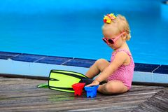 Cute girl with flippers in swimming pool at beach. Cute girl with flippers in swimming pool at tropical beach Stock Photography