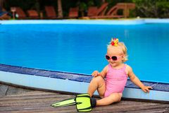 Cute girl with flippers in swimming pool at the. Cute girl with flippers in swimming pool at tropical beach Royalty Free Stock Photography