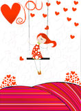 Cute girl on a floral swing Stock Photo