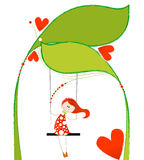 Cute girl on a floral swing Stock Images